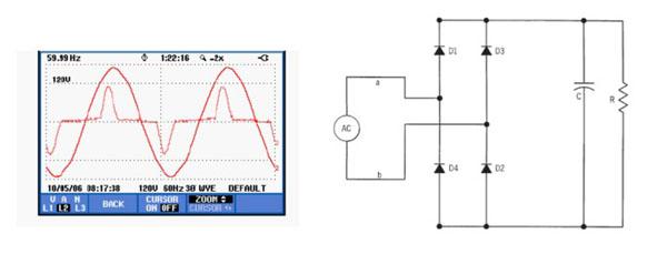 单相整流器的电路与电压,电流波形
